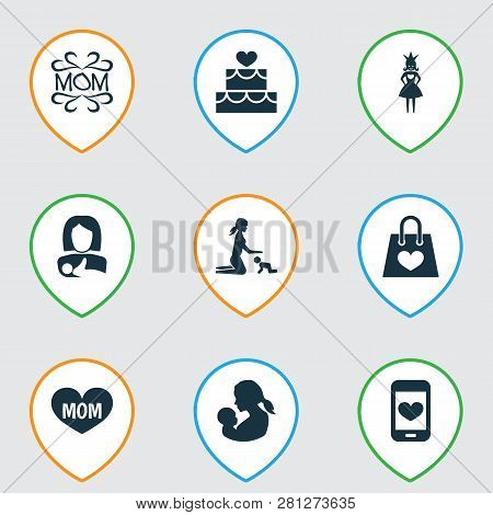 Mothers Day Icon Design Concept. Set Of 9 Such Elements As Mother, Relations And Princess. Beautiful