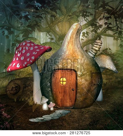 Enchanted Pumpkin House In A Fantasy Forest - 3d Illustration