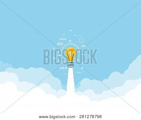 Launched Lightbulb Flying Through Cloud. Clouds And Sky. White Exhaust And Blue Sky. New Project Or