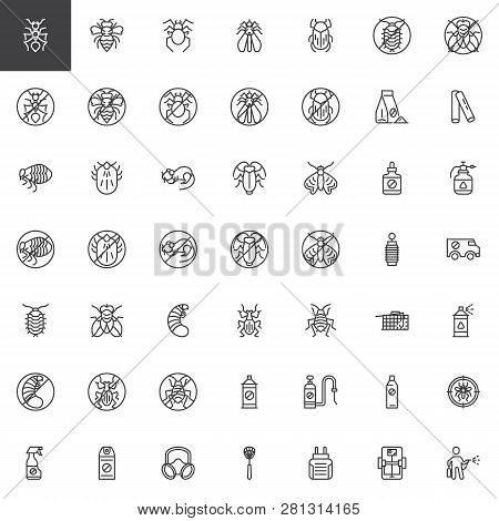 Pest Control Line Icons Set. Linear Style Symbols Collection, Outline Signs Pack. Vector Graphics. S