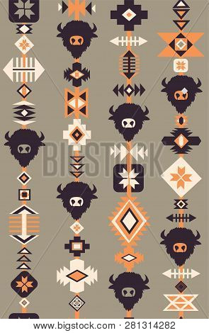 Ethnic Boho Tribal Seamless Vector Pattern With Skulls Of Animals, Hand Drawn Background. Decorative
