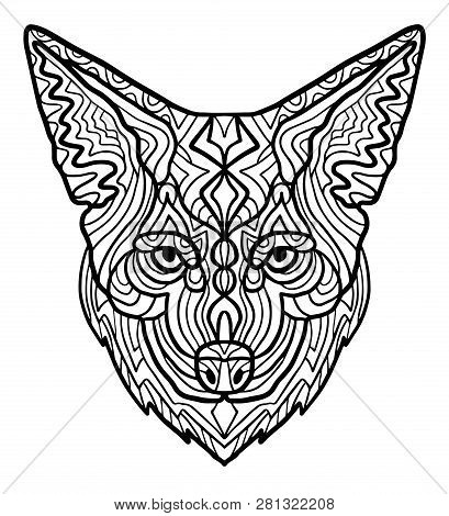 Wild Beautiful Coyote Head Hand Draw On A White Background. Zoo Animal Ethnic Tribal African Print S