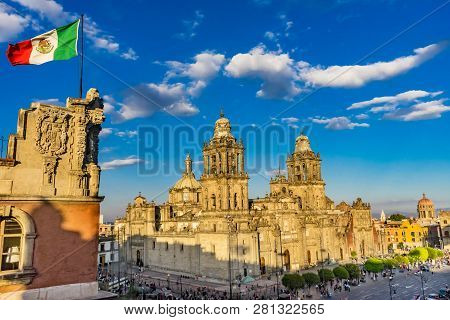 Metropolitan Cathedral Zocalo Center Of Mexico City Mexican Flag Mexico Sunrise