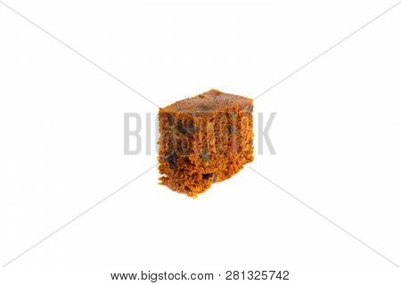 Fruitcake Isolated On White Background With Selective Focus