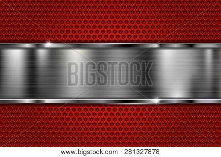 Red Brushed Metal Texture. Scratched Metallic Surface With Perforation. Vector 3d Illustration