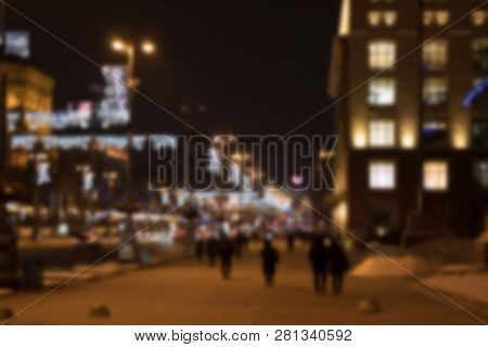 Blurred Background. Night City Lights Blur. Night City Life: Car And Street Lamps, Retro Style.