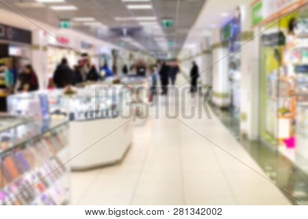 Abstract Blur And Defocused Beautiful Luxury Shopping Mall Of Deparment Store For Background. Walkin