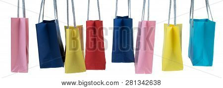 Paper Shopping Bags With Handles On White Background. Mockup For Design. Banner. Panorama, Banner.