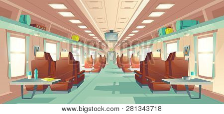 Modern Passenger Long Distance Travel Train Business Class Wagon Empty Spacious Interior With Rows O