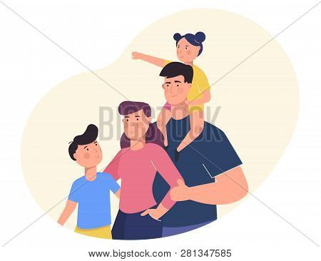 Happy Family Portrait. Family Members Standing Together. Mother, Father And Children.vector Illustra