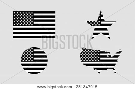 Flag Usa. Star Flag Usa. Usa Map. American Flag In Circle. Set Of American Flags In Flat Design In B