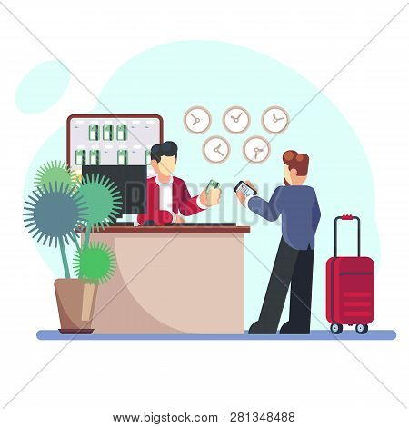 Hotel Check-in Registration Of A Hotel Room. Businessman With A Suitcase About The Reception Desk. V