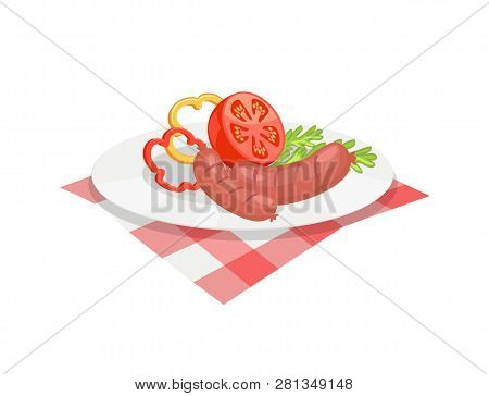 Roasted Sausages Served On Plate. Wurst With Sliced Pepper Rings Half Tomato Herbs. Barbecue Bratwur