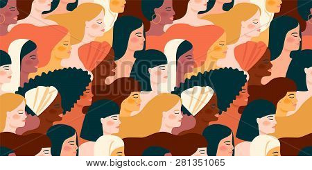 International Womens Day. Vector Seamless Pattern With With Women Different Nationalities And Cultur