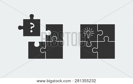 Puzzle Symbolizing Idea And Solution. Simple Solutions Concept
