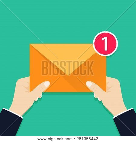 I Have One Incoming Message For You. Hand Holding Envelope, Letter. Email Message Concept. New, Inco