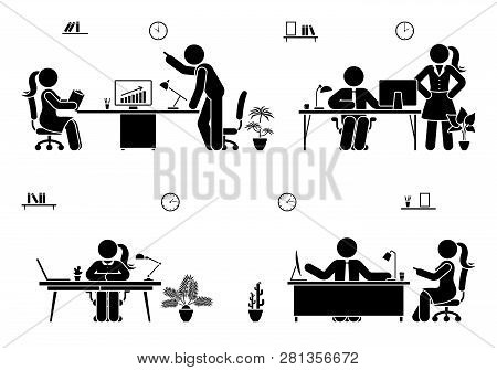 Office Busy Working Stick Figure People Vector Icon Set. Teamwork, Solution, Communication, Supervis