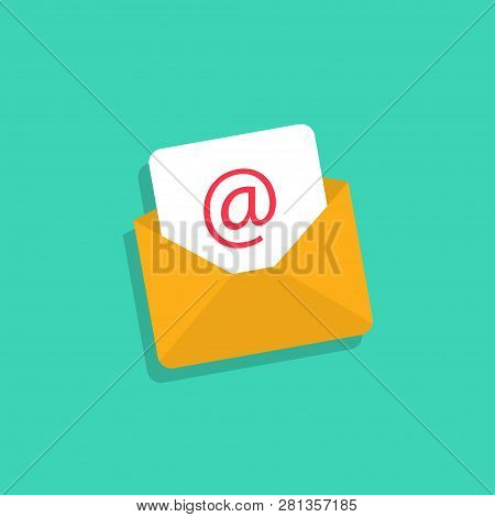 Email Icon. Mail Envelope With Email In Flat Design