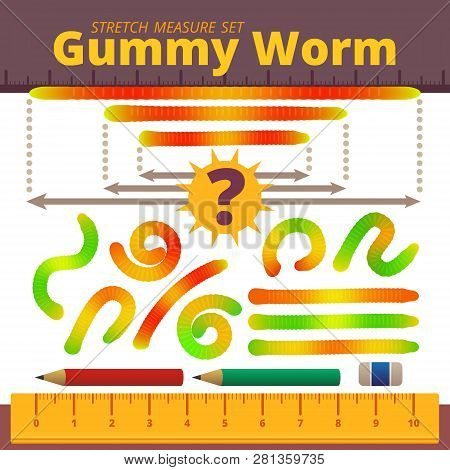 Cartoon Jelly Gummy Worms Stretch Measure Set. Colorful Elements. Vector Illustration. Design For Ki