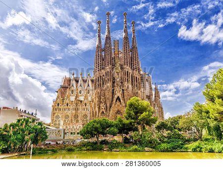 Barcelona, Spain - September 15,2015 :  Sagrada Familia  In  Barcelona. Sagrada  - The Most Known Th