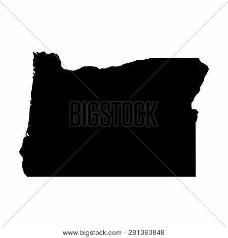 Oregon, State Of Usa - Solid Black Silhouette Map Of Country Area. Simple Flat Vector Illustration