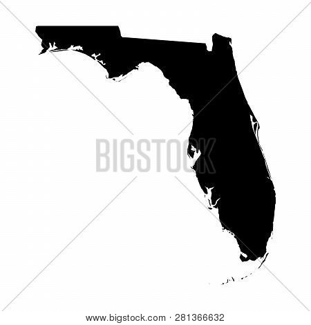 Florida, State Of Usa - Solid Black Silhouette Map Of Country Area. Simple Flat Vector Illustration