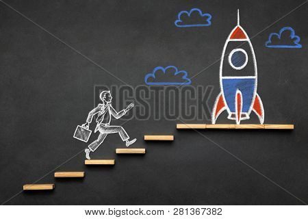 Career Planning And Business Challenge Concept With Hand Drawn Businessman And Rocket Chalk Illustra