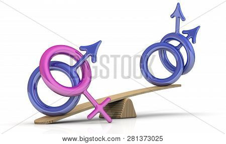 Heterosexuals Quantitative Advantage Over Homosexuals. Symbolic Image Of Heterosexuals And Homosexua