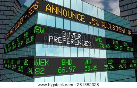 Buyer Preferences Stock Market Ticker Wall Street Building 3d Illustration poster