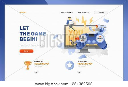 Vector Header Template Of Video Gaming. Tiny Peoples Playing Video Game. Big Video Game Controller O