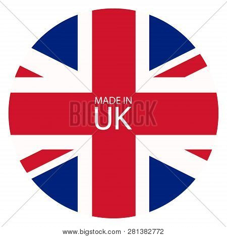 Made in Uk icon. United States of Great Britain flag made in sign, symbol poster