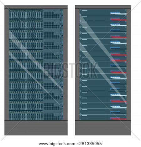 Network workstation server room concept. Server racks poster