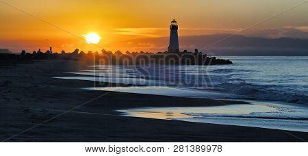 Walton Lighthouse On Santa Cruz Shore At The Sunrise