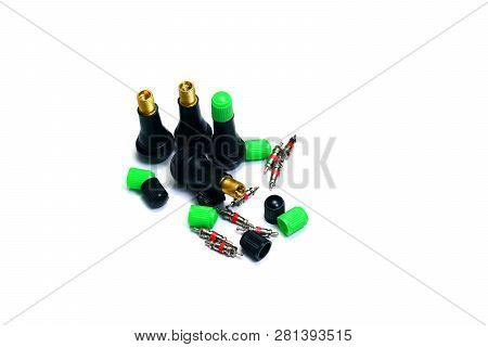 The Parts Of  Tyre Pressure Valve On White Isolated Background