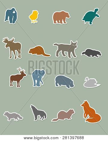 Vector Illustration Of A Set Of Colored Animal Silhouettes