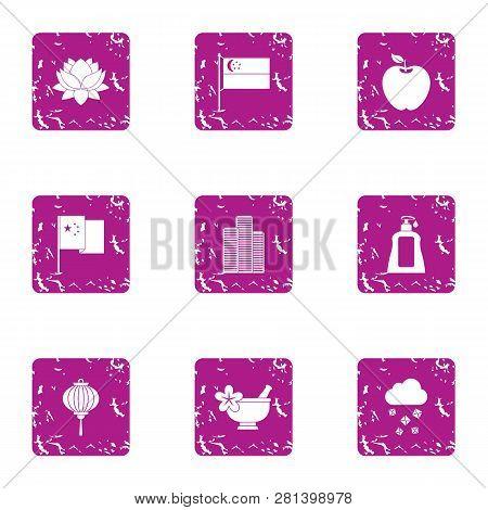 Esthetic Icons Set. Grunge Set Of 9 Esthetic Icons For Web Isolated On White Background