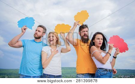 Clouds For The Advertisements. People Speak Using Speech Bubbles. Friends Send Messages On Comic Bub