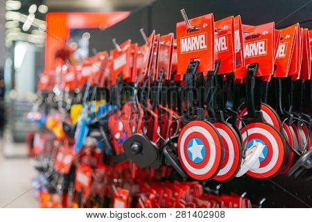 Bangkok, Thailand - August 11, 2018. - Marvel Souvenirs Selling At The Marvel Experience Superstore