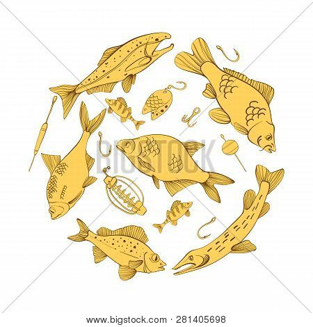 Fishing Equipment And Fish, Handdrawn Lettering, Carp, Roach, Perch, Salmon, Sturgeon, Tuna, Ruffe,