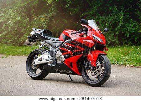 Krasnoyarsk, Russia - May 27, 2018: Red And Black Sportbike Honda Cbr 600 Rr 2005 Pc37