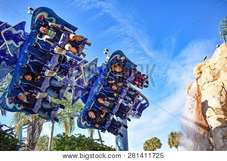 Orlando, Florida. December 19, 2018. Amazing View Of Manta Ray Rollercoaster At Seaworld Theme Park.