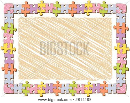 Rectangle Jigsaw Frame With Dots (Vector)