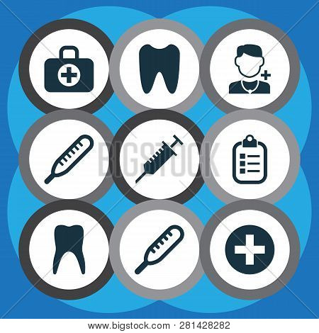 Antibiotic Icons Set With Tooth, Stings, Temperature And Other Dental  Elements. Isolated Vector Ill