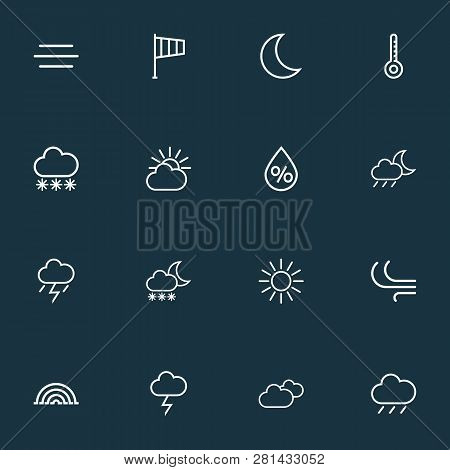 Climate Icons Line Style Set With Rainfall, Humidity, Blizzard And Other Cloud Sky Elements. Isolate