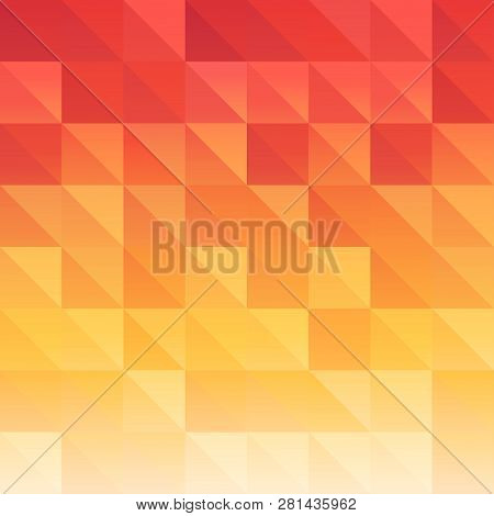 Triangle background red orange saturated color. Beautiful juicy vector pattern poster