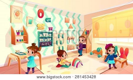 Vector Montessori Room With Children, Elementary School Background With Furniture And Infant Charact