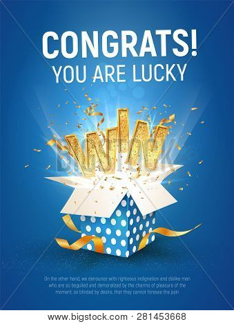 Win Gold Text. Open Textured Blue Box With Confetti Explosion Inside And Golden Winning Word On Blue