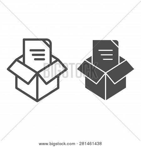 Unpacking Line And Glyph Icon. Box Unpack Concept Vector Illustration Isolated On White. File Unpack