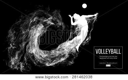 Abstract Silhouette Of A Volleyball Player Man On Dark, Black Background From Particles. Volleyball
