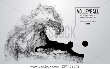 Abstract Silhouette Of A Volleyball Player Man On White Background From Particles. Volleyball Player